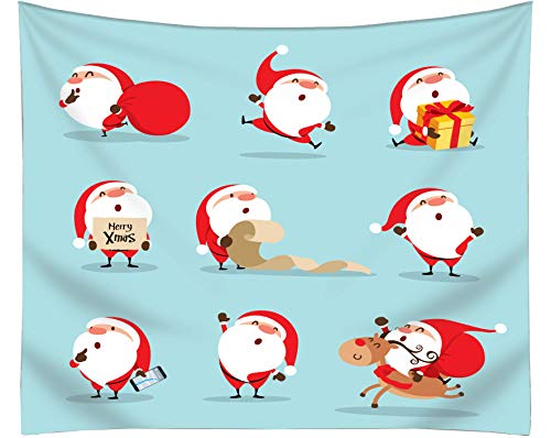Get Orange Christmas Wall Tapestry, Merry Christmas Cute Santa Claus Snowman Winter Landscape Christmas Fabric Tapestry Home Decor 80X60 Inches (Snowman Wall Tapestry)