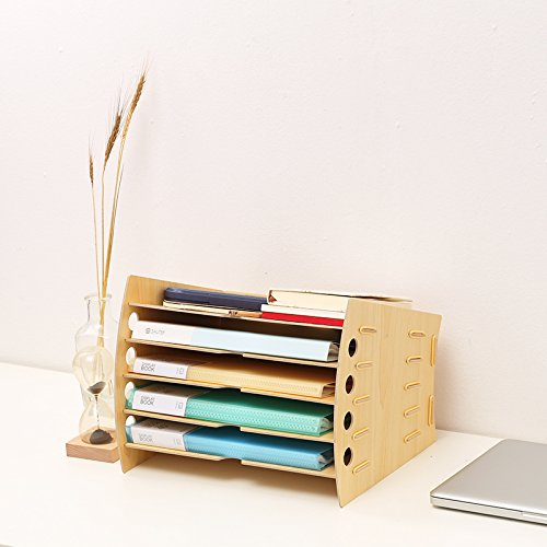 Bookcase Office Desk Organizer Multi-Layer Office Supplies Rack Data Rack Creative Stationery Document Storage Box,WoodColor by Bookcase (Image #1)