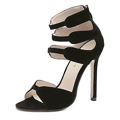 pwne Sandalias De Mujer Zapatos Club Fleece Vestido Cosido Stiletto Talón De Encaje Negro Rojo 4A-4 3/4 Pulg. US6 / EU36 / UK4 / CN36