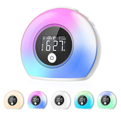 - CrazyFire Wake Up Light Alarm Clock for Bedrooms,Kids Alarm Clock with Wireless Bluetooth Speaker and 5 Color Switch,3 Natural Sounds,4 Brightness,2000mAh Rechargeable Battery