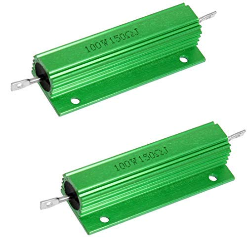 Yohii 2Pcs 100W 150 Ohm Green Aluminum Case Wirewound Housed -