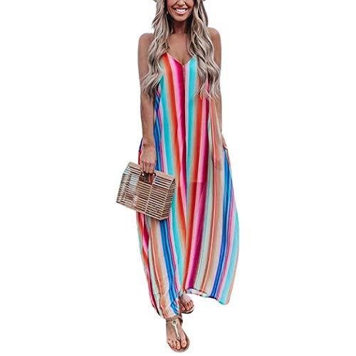 LONGTA Summer Women Rainbow Stripe Print Sexy Backless Beach Long Maxi Dresses (Dress 1,L)