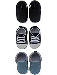 3 Pack Soft Sole Crib & Pre Walker Baby Boy Shoes- Baby Boys Sneakers- for Newborn, Infant & Toddler