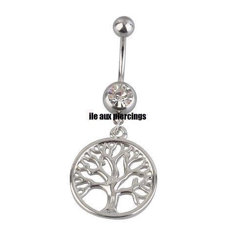 Piercing nombril arbre généalogique acier pendant bjoux pendentif