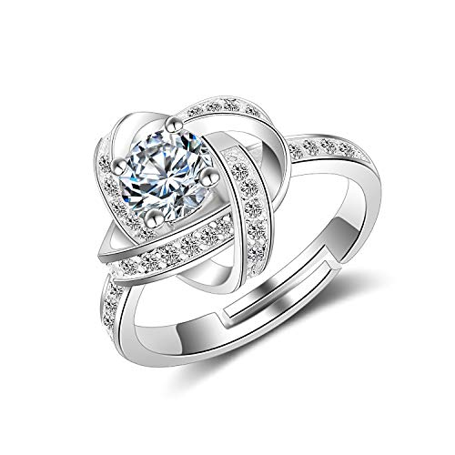 - Madeone ✦18K White Gold Plating Flower Clover Wedding Ring Excellent Cut Cubic Zirconia CZ Stone Adjustable Ring for Women with Box Packing