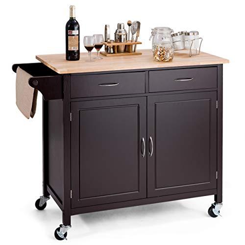 - Giantex Portable Kitchen Rolling Cart Wood Top Island Serving Utility W/Cabinet &Drawer (Dark Brown)