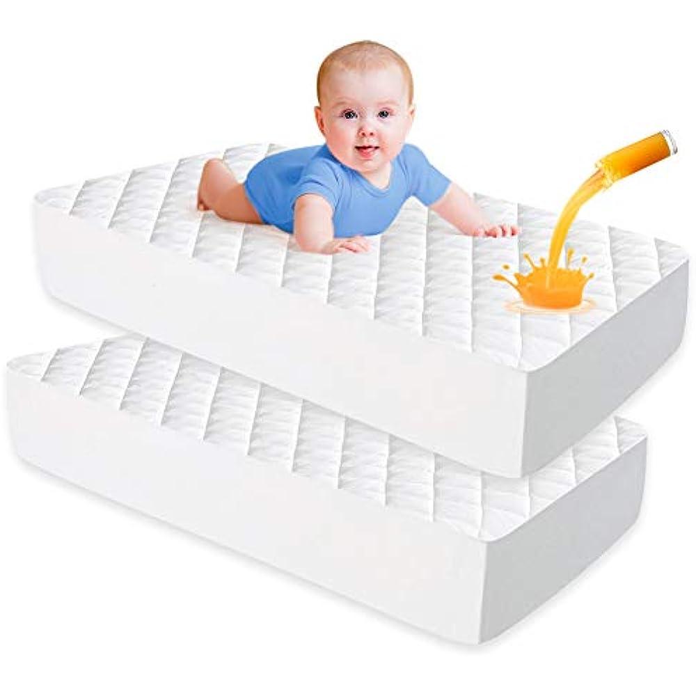 UNILIBRA 2 Pack Waterproof Crib Mattress Pad, Bamboo ...