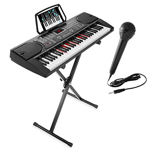 Hamzer 61-Key Electronic Keyboard Portable Digital Music Piano with Lighted Keys, X Stand, Microphone & Sticker Set