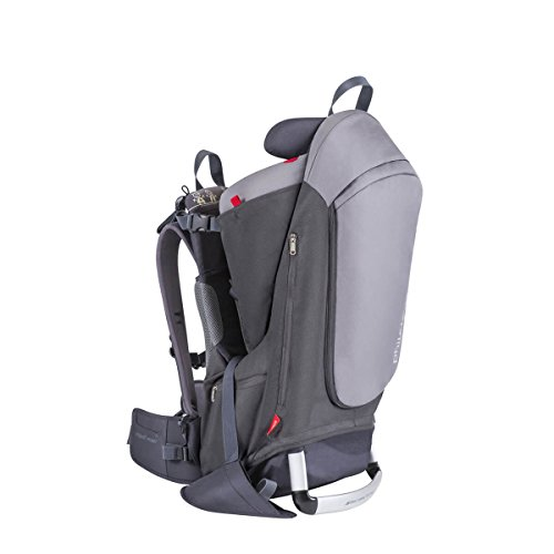 phil&teds Escape Child Carrier Frame Backpack, Charcoal – Height Adjustable Body-Tech Harness – Articulating Dual Core Waist Belt – Includes Hood, Daypack, Change Mat – 30L Storage – 2 Year Guarantee