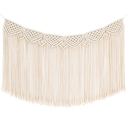 Mkono Macrame Woven Wall Hanging Fringe Garland Banner Decor Bohemian Home Decoration for Apartment Bedroom Living Room Gallery Baby Nursery, 35