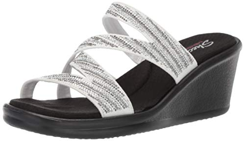 Skechers Women's Rumblers-MEGA Flash-Rhinestone Multi Strap Wedge Slide Sandal, White/Silver, 6 M US