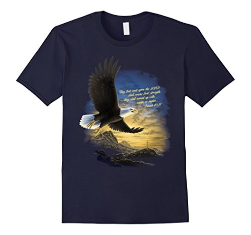 Mens Wings as Eagles Isaiah 40:31 T Shirt XL Navy