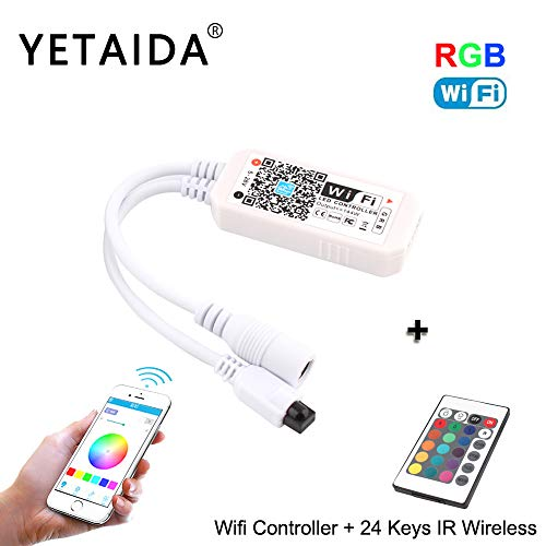 YETAIDA MagicLight RGB RGBW WiFi LED Controller with 24 Keys Mini Wireless Dimmer Control for 5050 3528 LED Light Strip DC 12V 24V, Compatible Android iOS System Alexa Google Home ()