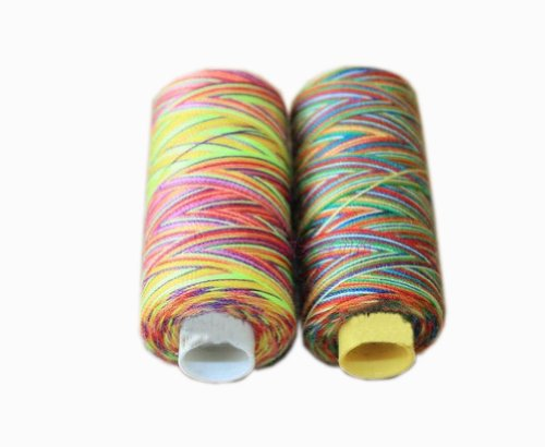 2 Spools Colorized Polyester Sewing Thread 150 Yards Each (Small Spool Thread) - Multi Colored Polyester Thread