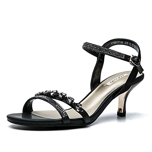 VIVIOO Rhinestones High Female Word Shoes Heeled Sandals Sandals Summer Head Shoeswomen'S High Elegant Buckle Sandals Women'S Black Round Heeled qq7rEx1