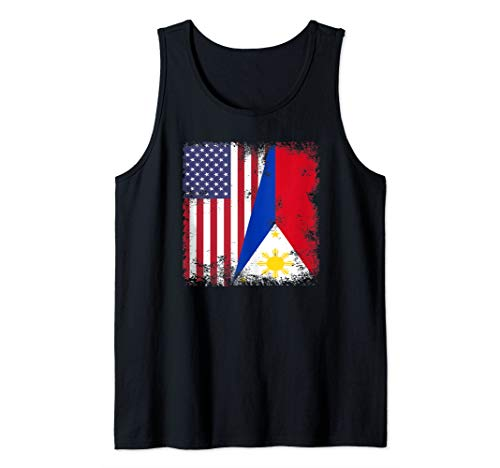 Half Filipino Flag | Vintage Philippines USA Gift Tank Top
