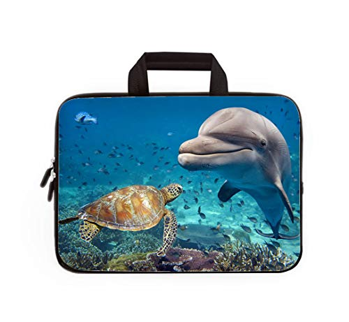 Double Zipper Laptop Bag,Dolphin and Turtle Underwater on Reef,14 inch Canvas Waterproof Laptop Shoulder Bag Compatible with 14