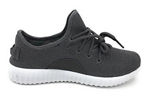 Blaue Berry EASY21 Frauen-beiläufige Art- und Weiseturnschuhe Breathable athletische Sport-leichte Schuhe Dunkelgrau / Weiß