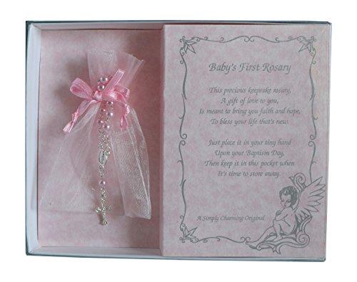 Babys First Rosary Poem and Keepsake Bracelet for Christening or Baptism (Pink)