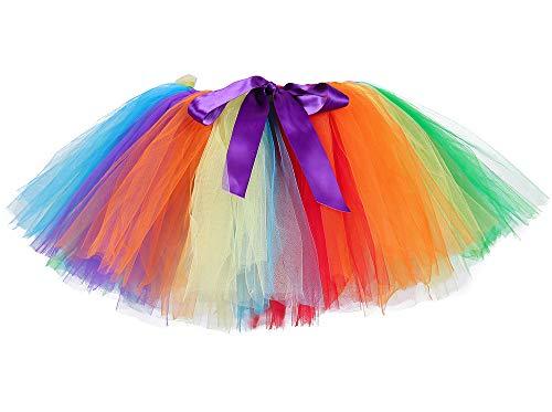 Woman Rainbow Tutu Skirt Adult Sport Running Race Tulle Skirt Ballet Ballerina Tutu (Free Size, Rainbow) -