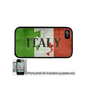 Italy Italian Shape Name Flag Distressed Apple iPhone 4/4S Case Cover Black