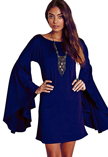 Dress Like Hippie Halloween (VIVICASLTE Long Flare Bell Sleeve Blouse Mini Dress (Medium, Royal)