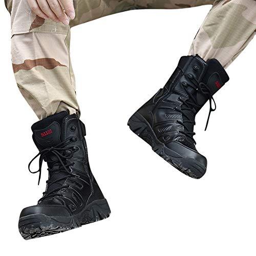 OVERMAL Bottes Hommes Bottes De Randonnée Classiques Bottes Militaires Combat Résistant À l'usure Non Antidérapant… 2