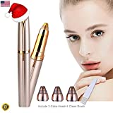 Eyebrow Epilator Hair Removal - STOUCH Eyebrow Hair Remover For Women's Painless Brow Hair Removal Trimmer Epilator for Smooth Finishing and Perfect Touch With 3 Extra Replacement Heads, Gold