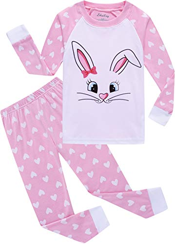 Little Girls Rabbit Pajamas Children Christmas Pjs Cotton Sleepwear Set Size 3