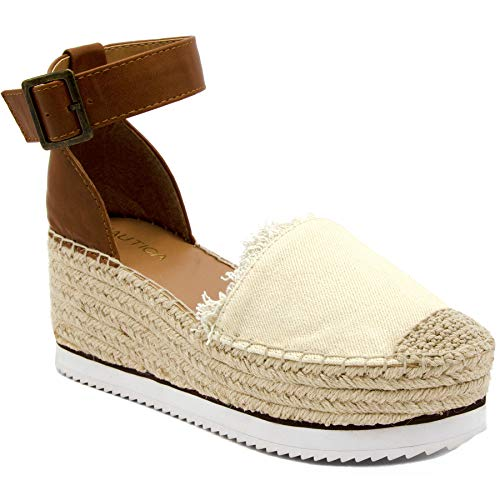 (Nautica Women's Espadrille Mid Wedge Sandals with Fashion Buckle-Valeria Mid-Natural-7.5 )