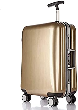 AHJSN 22/25 / 29 Pulgadas Carro de Moda Marco de Aluminio Equipaje de Viaje ABS + PC Maleta aduana Cerradura Caja de embarque Comercial 29 Pulgadas Champán