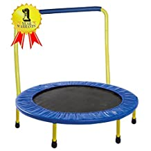 "Portable & Foldable Trampoline - 36"" dia. Durable Construction Safe for Kids with Padded Frame Cover and Handle - Yellow - OPEN BOX"