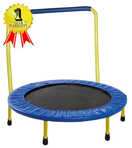 Portable & Foldable Trampoline - 36 Dia. Durable Construction Safe for Kids with Padded Frame Cover and Handle / 1 Year Warranty - Yellow by GYMENIST (Portable Mini Bar)