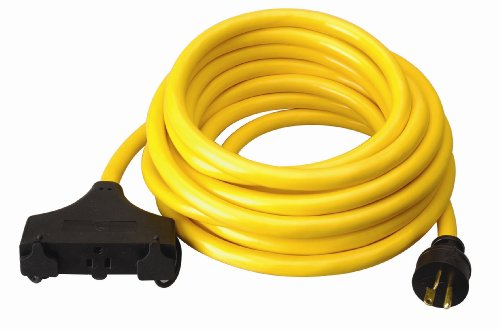 Coleman Cable 01911 25-Feet 10/3 Generator Power Cord with L5-20P to (3) 5-15R Plug and 3-Outlets