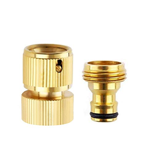 ESOW Female Hose Quick Connector + Male Hose Adapter in 3/4 inch Thread for Garden Hose Nozzle, Handheld Water Sprayer Gun, Industrial Solid Brass Quick Disconnect Hose Fitting Set,(1 Male 1 Female)
