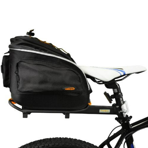 Ibera PakRak Quick Release Mini Commuter Bike Trunk Bag and Seat Post Bicycle Carrier Rack Combo