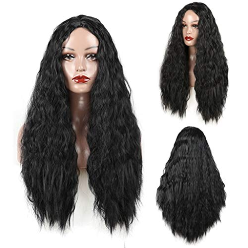 DYHOZZ Wig | 28 Inch Black Long Fluffy Wig Girl Synthetic Role-Playing Party Wig Wig