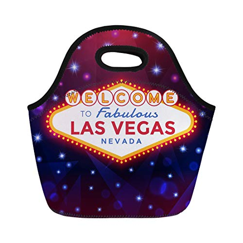 Semtomn Lunch Tote Bag Welcome Las Vegas Sign Against the Night Sparkling Casino Reusable Neoprene Insulated Thermal Outdoor Picnic Lunchbox for Men Women