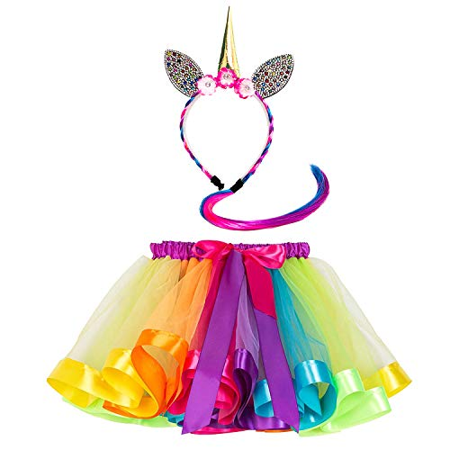 Girls Rainbow Layered Tulle Tutu Skirt/Unicorn Headband with