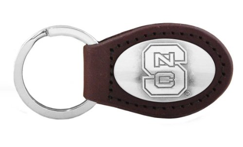 NCAA North Carolina State Wolfpack Zep-Pro  Leather Concho Key Fob, Brown ()