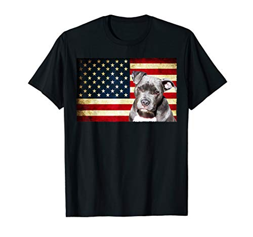 Patriotic Pit Bull American Flag Shirt 4th of July Gift Tee ()