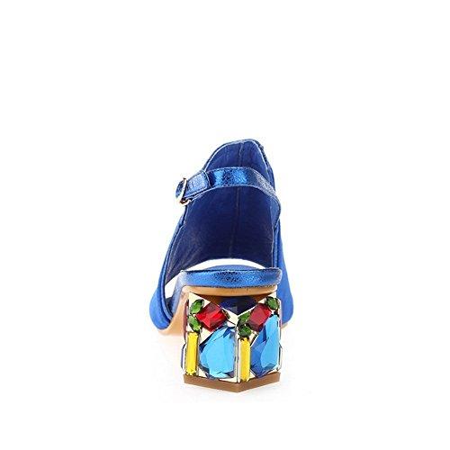 AllhqFashion Mujeres Sin cordones Tacón ancho Piel De Oveja Sólido Puntera Abierta Sandalia Azul