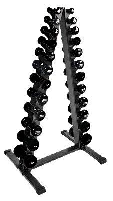 Power Systems Dumbbell Vertical Rack and a Full- Set of 24 Apple Vinyl Dumbbells, 1-15 Pound Dumbbells, Black (61791) by Power Systems
