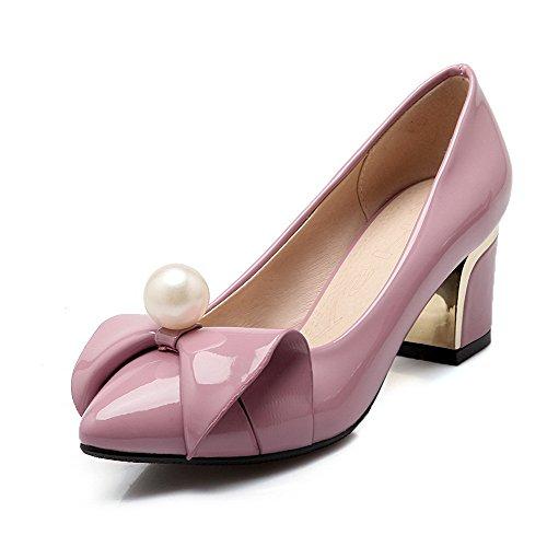 AgooLar Damen Hoher Absatz Eingelegt Ziehen auf Lackleder Spitz Zehe Pumps Schuhe, Pink, 40