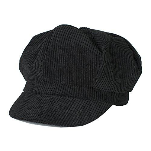 Belsen Unisex Cotton Corduroy Newsboy Cap Gatsby Ivy Hat (Black) -