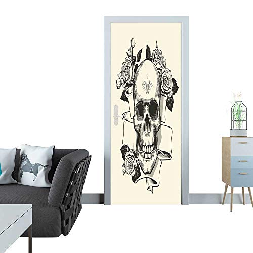 glass door sticker decals Human skull with rose grasped with jaws and ribbon on background Symbol of death and evil Monochrome vector illustration in retro etching or woodcut style for label banner t