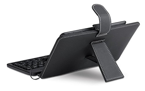 Genius Luxepad A120 Teclado / caja de cuero para la tableta / teléfono inteligente Android Negro