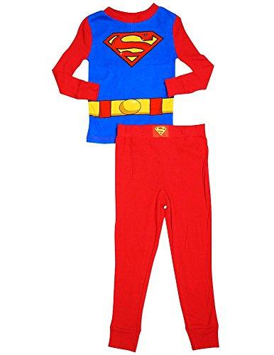 Superman - Little Boys Long Sleeve Superman Pajamas, Red, Royal 33748-10