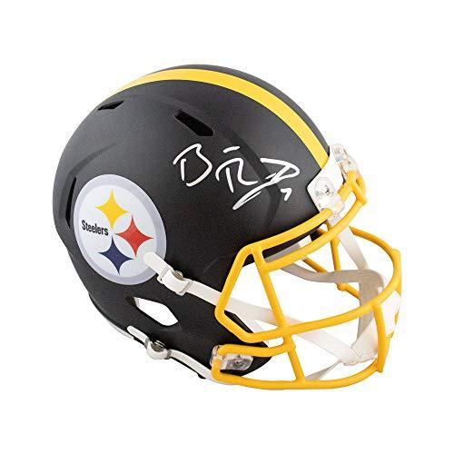 Ben Roethlisberger Autographed Pittsburgh Steelers Flat Black Full-Size Football Helmet - BAS COA Ben Roethlisberger Autographed Football