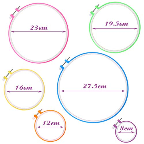 BigOtters 6PCS 6 Sizes Embroidery Hoops, Plastic Circle Cross Stitch Hoop Rings Adjustable from 3.2 Inches to 10.8 Inches for Christmas Ornaments Art Craft Handy Sewing DIY Favor, Multicolor